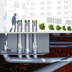An artist's impression of the rubbish system to be installed at Maroochydore city centre.