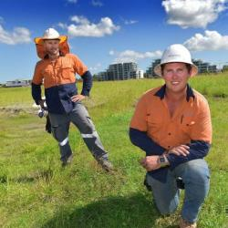 Clint Menzies and Mitch Jackson working on the new Maroochydore CBD site.